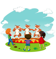 children watching fox dance performance vector image