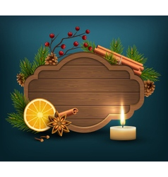 Christmas Background with Wooden Frame Spices and vector image
