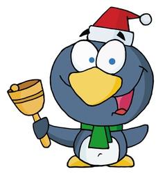 Christmas Penguin Bell Ringer vector image