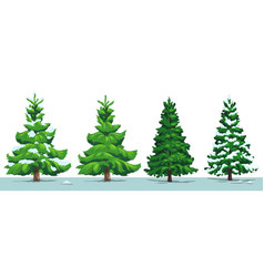 Christmas tree green fir pine spruce with snow vector