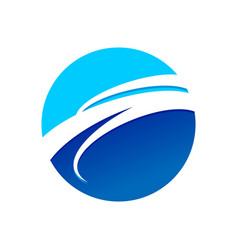 Circular blue wave symbol logo design vector