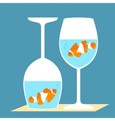 Clownfish in a wine glasses vector