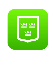 coat of arms of sweden icon digital green vector image