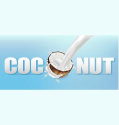 coconut in milk splash realistic text vector image