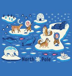 Collection of polar animals eskimos vector