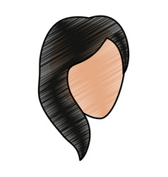 Color pencil silhouette faceless front view woman vector