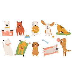 colorful bundle playful and funny dogs vector image