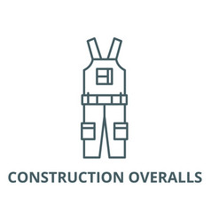 construction overalls line icon vector image