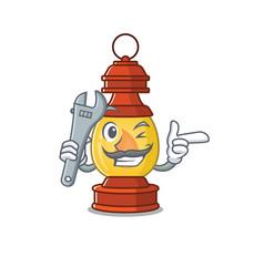 Cool mechanic lantern scroll cartoon character vector