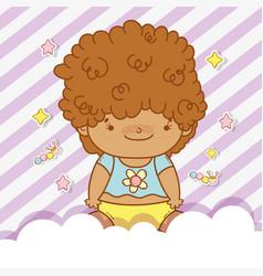 Cute baby boy with curly hair vector