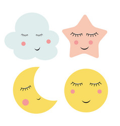 cute cloud star and moon vector image