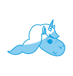 Cute unicorn animal fantasy horse horn lovely vector