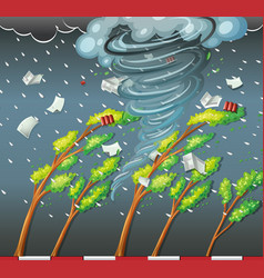cyclone hit the tree vector image