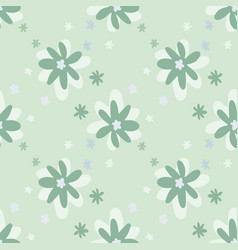 daisy flowers seamless naivy doodle pattern vector image