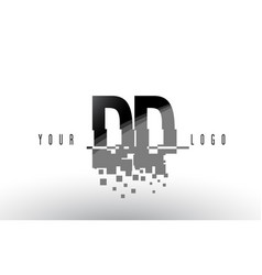 Dd d d pixel letter logo with digital shattered vector
