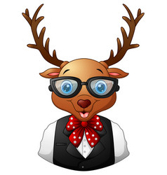 deer hipster dressed and sunglasses vector image