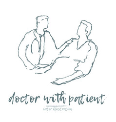 doctor patient sketch hand drawn vector image