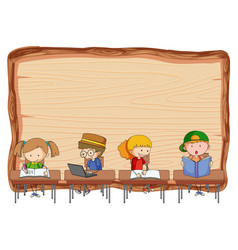 Empty wooden board with many kids doing vector