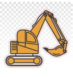 Excavator heavy equipment flat icons for apps vector