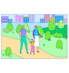 Family character person walk city park spend fun vector