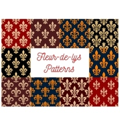 Floral fleur-de-lis french royal lily patterns set vector image