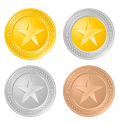 Four gold coins vector