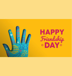 Friendship day web banner of paper cut hand shape vector