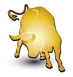 Gold bull symbol vector