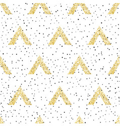 Gold geometric triangle with dots background vector