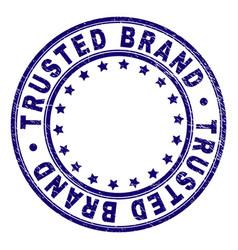 Grunge textured trusted brand round stamp seal vector