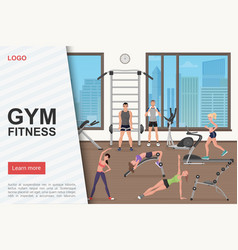 Gym training workout landing page template vector