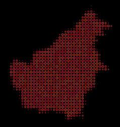 Halftone red borneo island map vector