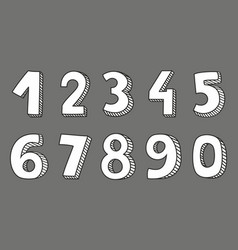 hand drawn white numbers isolated on grey vector image