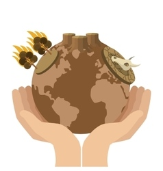 Hands holding arid planet earth icon vector