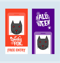 happy halloween invitation design with cat vector image