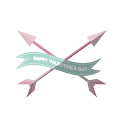 happy valentines day card pink heart arrows vector image