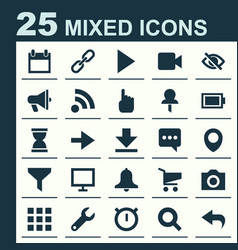 Interface icons set collection of camcorder map vector
