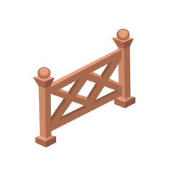 Isometric cartoon wooden fence gate - element for vector