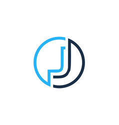 J letter circle line logo icon design vector