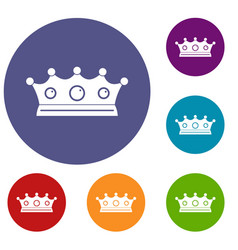 Jewelry crown icons set vector
