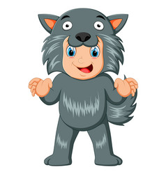 Kid wearing a werewolf mask vector