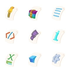 Kind of files icons set cartoon style vector