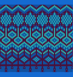 knitted sweater seamless pattern in blue colors vector image