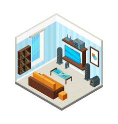 living room interior entertainment home theatre vector image