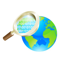 Magnifying glass binary data world globe concept vector
