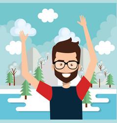 man celebrating in the lake vector image