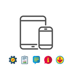 Mobile devices icon smartphone tablet pc vector