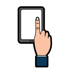 mobile phone with finger touching screen vector image