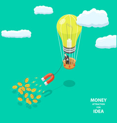 Money attraction flat isometric low poly concept vector