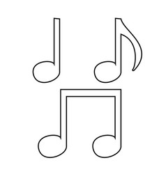 music note set icon black color vector image